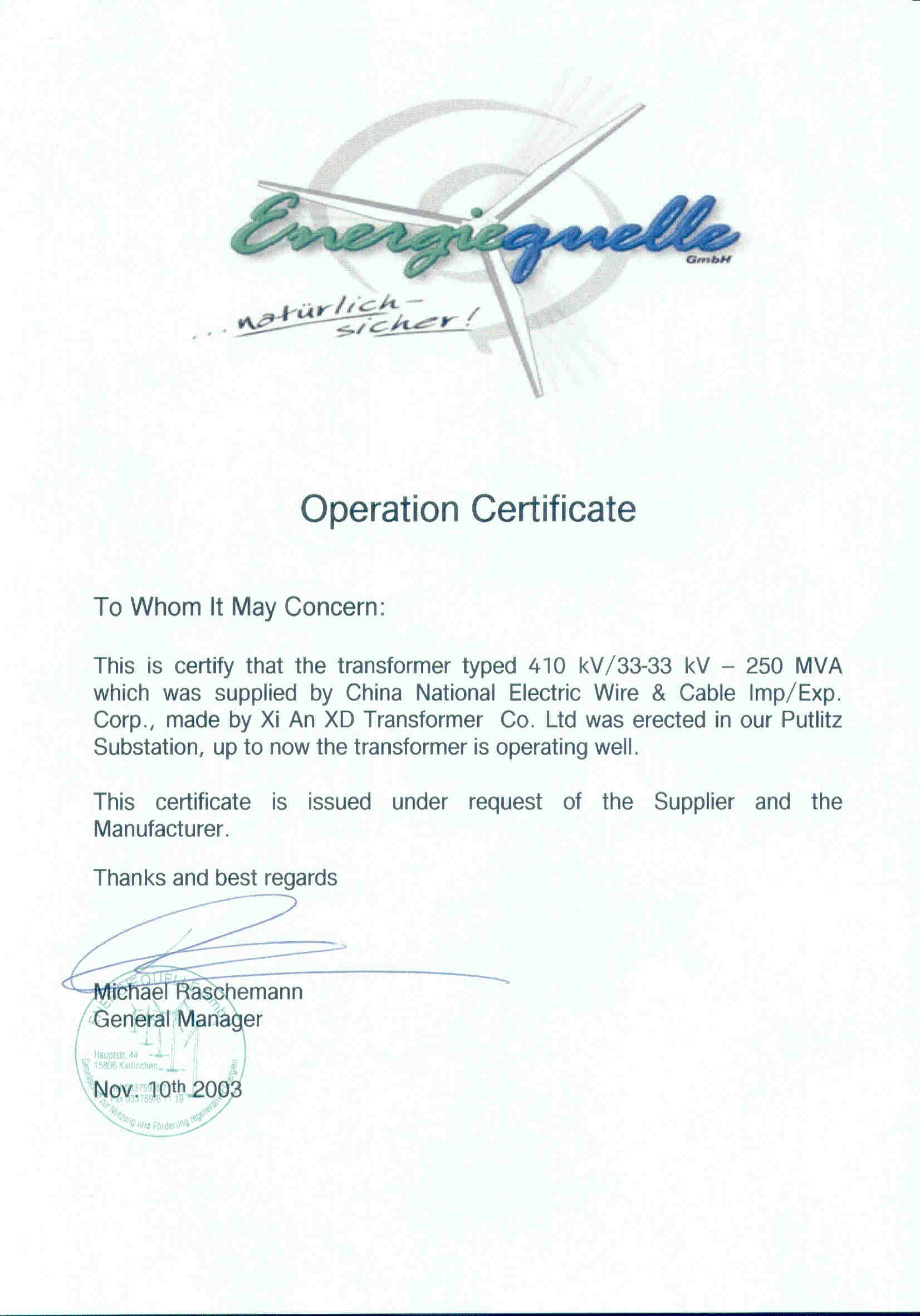 German Operation Certificate For China Transformer